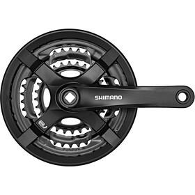 Shimano FC-TY501 - Manivelle - 6/7/8 vitesses 48-38-28 dents avec carter de protection noir